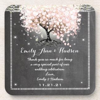 Tafel-rosa Herz-Blatt-Baum-Hochzeits-Untersetzer Drink Untersetzer