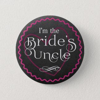 Tafel-rosa Herz, das den Onkel | Braut Wedding ist Runder Button 5,1 Cm
