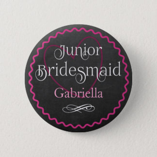Tafel-rosa Herz, das | Juniorbrautjungfer Wedding Runder Button 5,1 Cm