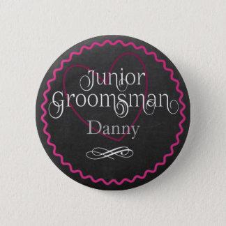 Tafel-rosa Herz, das | JuniorTrauzeugen Wedding Runder Button 5,7 Cm
