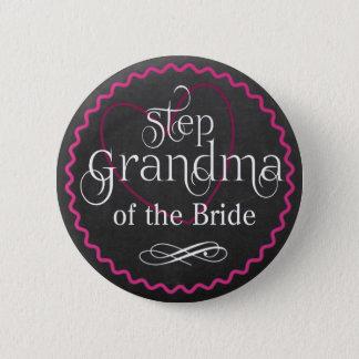 Tafel-rosa Herz, das | Schritt-Großmutter-Braut Runder Button 5,7 Cm