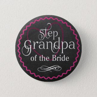 Tafel-rosa Herz, das | Schritt-Großvater-Braut Runder Button 5,7 Cm