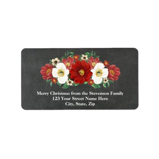 Tafel-rotes Blumenweihnachtsadressen-Etikett Adressetiketten