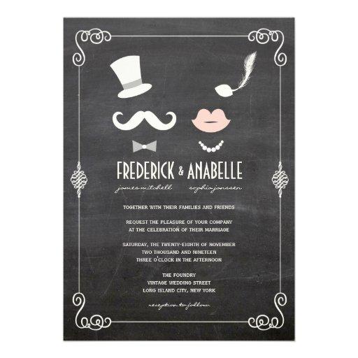 Tafel-Schnurrbart u. LippenVintage Hochzeit laden Individuelle Einladungskarten