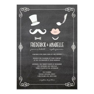 Tafel-Schnurrbart u. LippenVintage Hochzeit laden 12,7 X 17,8 Cm Einladungskarte