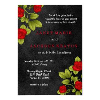 Tafel-Schwarz-und Rosen-Blumen-Hochzeit Karte
