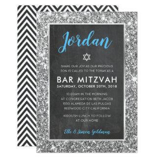 Tafel-Silber-Glitter des BAR MITZVAH laden cooler Karte