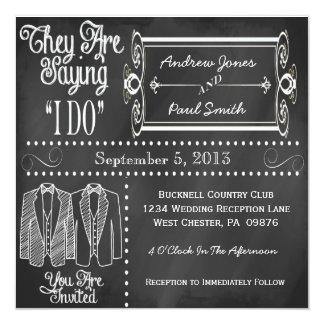 Tafel-Smokings-homosexuelle Hochzeits-Einladungen