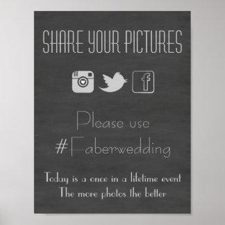 Tafel-Sozialmedien, die Foto Hashtag Zeichen Poster