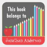 Tafel u. farbige Bleistifte, dieses Buch gehört Stickers