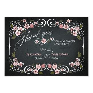 Tafel-Vintage mit Blumenmutige danken Ihnen 8,9 X 12,7 Cm Einladungskarte