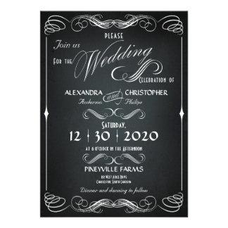 Tafel-Vintage mutige Typografie-Hochzeit Personalisierte Einladungskarten
