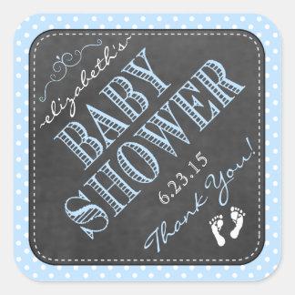 Tafel-Vintage Typografie-blaues Baby-Dusche Quadrat-Aufkleber