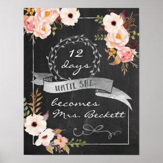 Tafel-Wedding Brautparty-Zeichen Poster