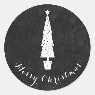 Tafel-Weihnachtsbaum/frohe Weihnachten Runder Aufkleber