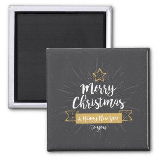 Tafel-Weihnachtsguten Rutsch ins Neue Jahr-Gold Quadratischer Magnet