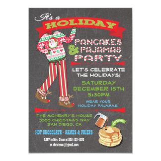 Tafel-Weihnachtspfannkuchen-u. -pyjama-Party 12,7 X 17,8 Cm Einladungskarte