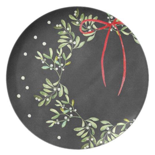 Tafel-Weihnachtsplatten-Kranz-Melamin Teller