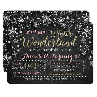 Tafel-Winter-Märchenland-Geburtstags-Einladung Karte