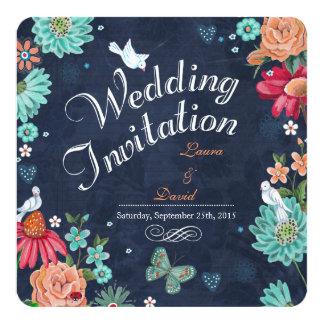 Tafelhochzeits-Einladungs-Blumen Quadratische 13,3 Cm Einladungskarte