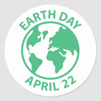 Tag der Erde, am 22. April Runder Aufkleber
