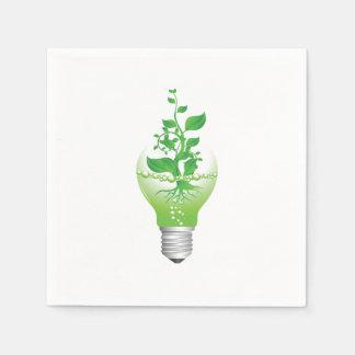 Tag der Erde-Glühlampen-Papierservietten Servietten
