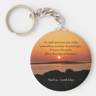 Tag der Erde-Sonnenuntergang Keychain Standard Runder Schlüsselanhänger