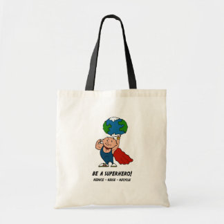 Tag der Erde-Superheld Budget Stoffbeutel