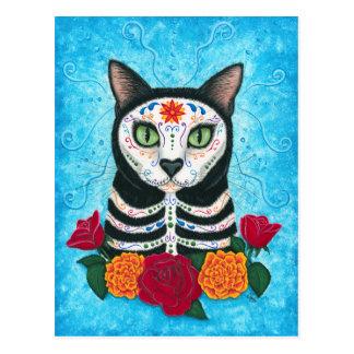 Tag der toten Katzen-Zuckerschädel-Kunst-Postkarte Postkarte