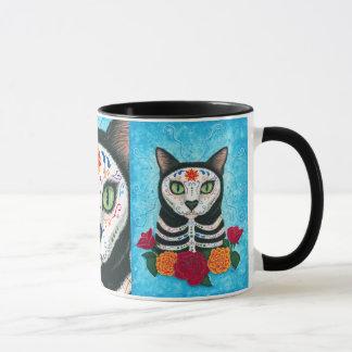 Tag der toten Katzen-Zuckerschädel-Kunst-Tasse Tasse