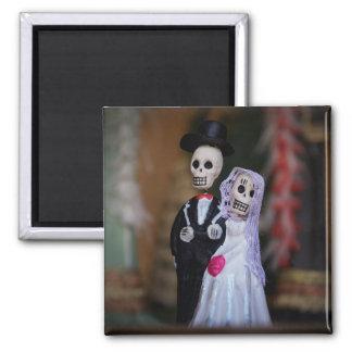Tag des toten Braut-und Bräutigam-Magneten Quadratischer Magnet