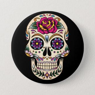 Tag des toten Zuckerschädels mit Rosen-Knopf Runder Button 7,6 Cm