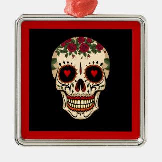 Tag des toten Zuckerschädels Silbernes Ornament
