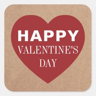 Tag einfaches cooles rotes Herzder weiße Quadratischer Aufkleber