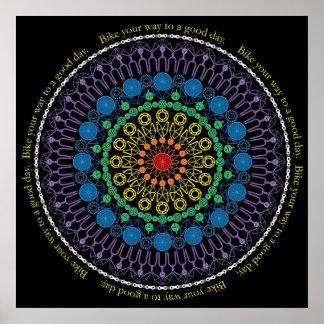 Tag-Fahrrad-Mandala mit Kreis-Text Plakat