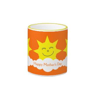 Tag glücklicher der Cartoon-Sonnenschein-der Ringer Tasse