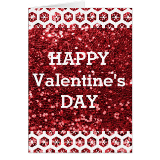 Tag roter Glitterder glückliche Valentines Karte