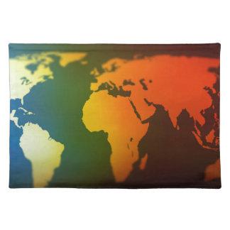 Tag und Nacht Weltkarte Stofftischset