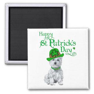 Tag Westie St. Patricks Quadratischer Magnet