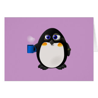 """""""Tageslicht-Sparungs-"""" Morgen-Pinguin mit Kaffee Karte"""