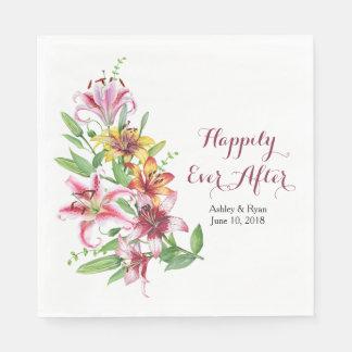 Tageslilien-Tiger-Lilien-personalisierte Hochzeit Serviette