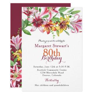 Tagestiger-Lilien-Blumen-80. Geburtstag laden ein Karte
