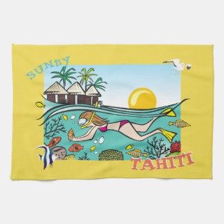 TAHITI-GESCHIRRTUCH.  TROPISCHES HANDTUCH