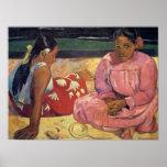 Tahitian Frauen auf dem Strand - Paul Gauguin-Druc Poster