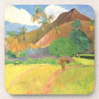 Tahitian Landschaft, Berge Tahiti, Paul Gauguin Getränkeuntersetzer