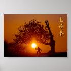 Taichi (taiji) hinlegender Baum Sonnenkirschbaum Poster