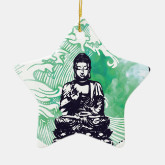 Taifun-Buddha-Wellen-Smaragd-Rauch Keramik Ornament