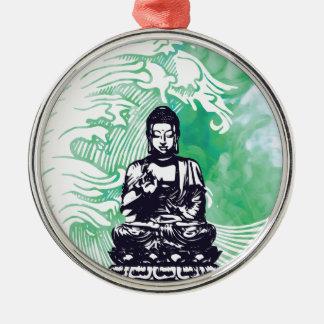 Taifun-Buddha-Wellen-Smaragd-Rauch Silbernes Ornament