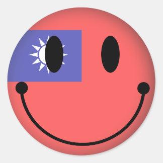 Taiwan-smiley Runder Aufkleber