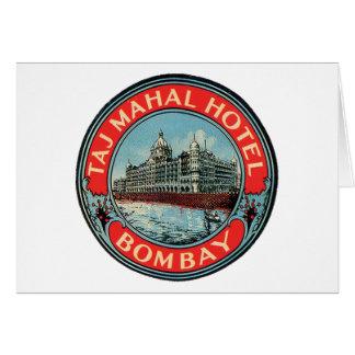 Taj Mahal, Bombay Vintager Gepäck-Aufkleber Karte